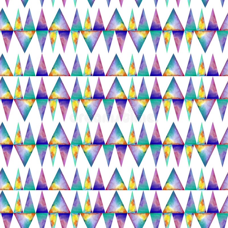 Modelo inconsútil de la acuarela Con los triángulos del colofrul en el fondo blanco stock de ilustración