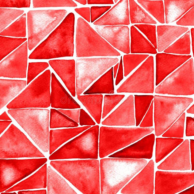 Modelo inconsútil de la acuarela con los triángulos rojos stock de ilustración