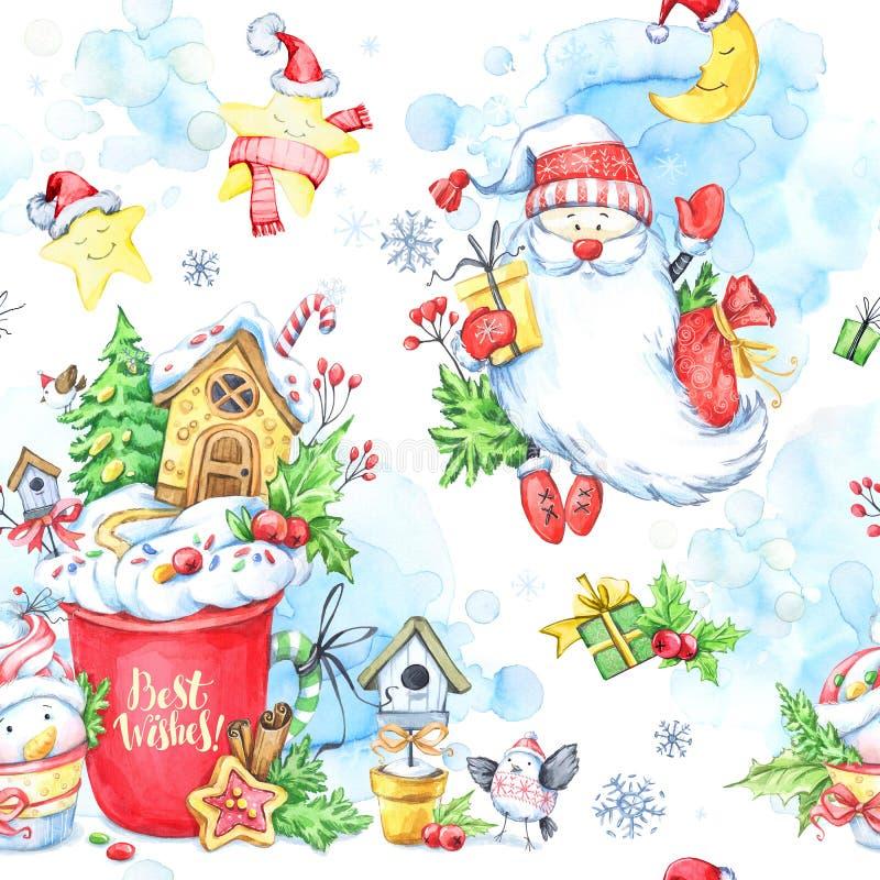 Modelo inconsútil de la acuarela con una taza de crema, de pan de jengibre, de muñecos de nieve del hada-cuento, de Santa Claus y stock de ilustración