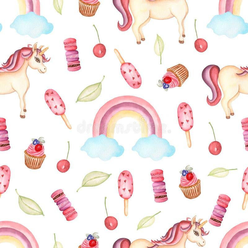 Modelo inconsútil de la acuarela con unicornio, los dulces, las bayas y el arco iris con las nubes Diseño del papel pintado del e ilustración del vector