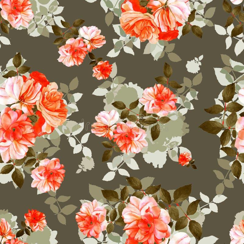 Modelo inconsútil de la acuarela de la flor de las rosas ilustración del vector