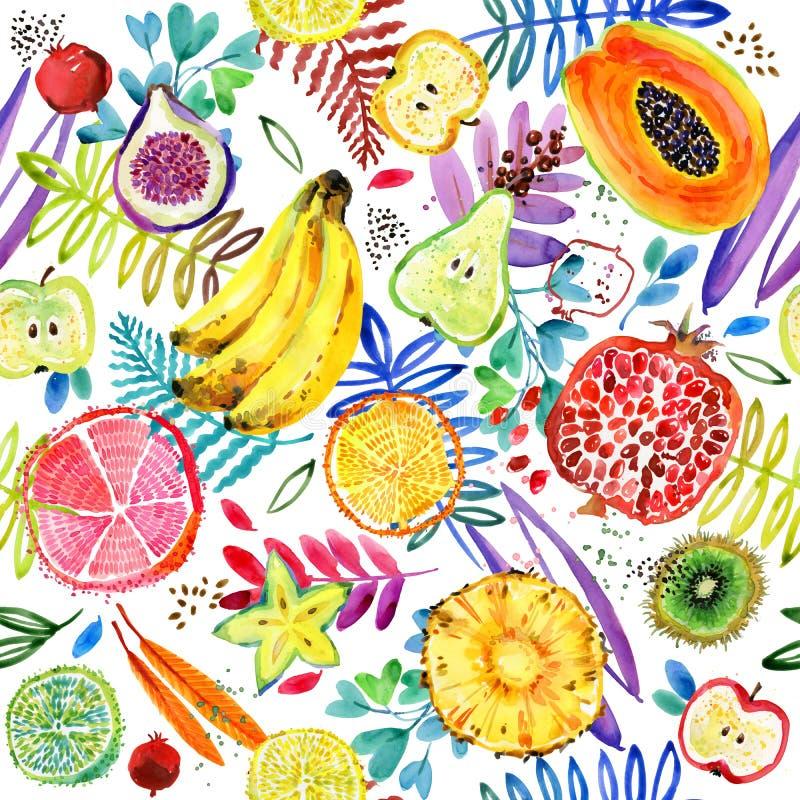 Modelo inconsútil de la acuarela de la fruta tropical del jardín fondo de la planta de la naturaleza de la selva ilustración del vector