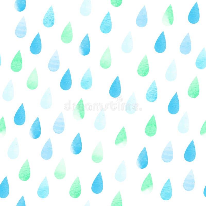 Modelo inconsútil de la acuarela de la lluvia stock de ilustración