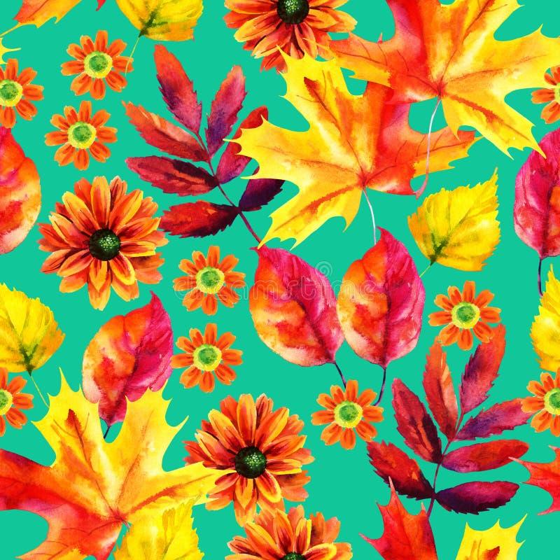 Modelo inconsútil de la acuarela de las hojas y de las flores de otoño stock de ilustración