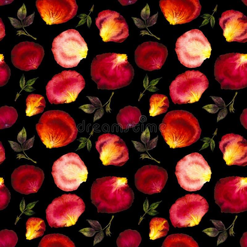 Modelo inconsútil de la acuarela de pétalos rosados y rojos libre illustration