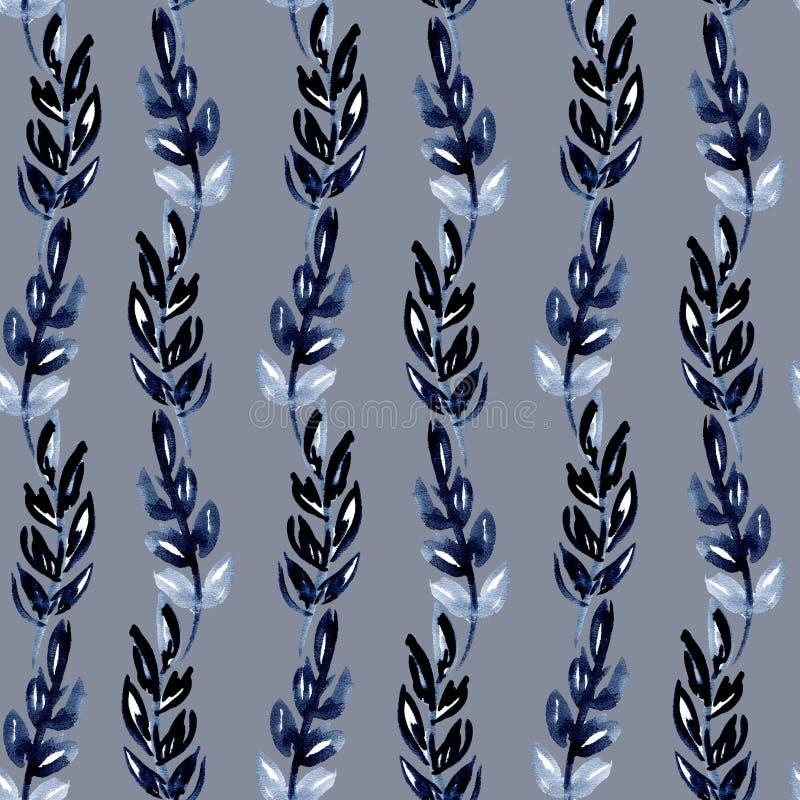 Modelo inconsútil de la acuarela del ejemplo de las hojas del añil bajo la forma de ondas de las rayas verticales en un fondo gri ilustración del vector