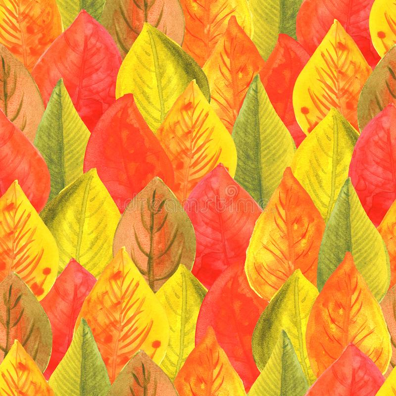 Modelo inconsútil de la acuarela del ejemplo de las hojas de otoño El otoño colorea amarillo anaranjado rojo stock de ilustración