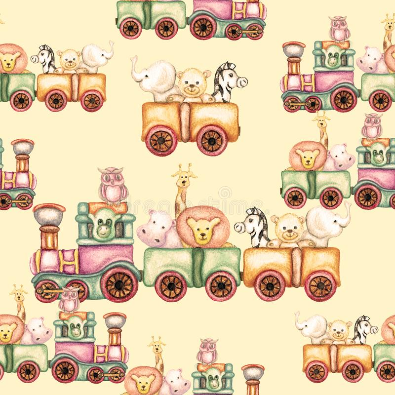 Modelo inconsútil de la acuarela del tren animal libre illustration