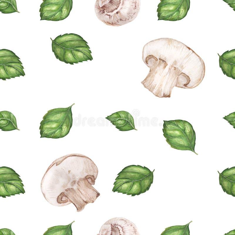 Modelo inconsútil de la acuarela del vegano con albahaca y champiñones libre illustration