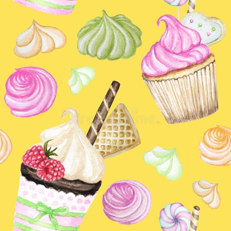 Modelo inconsútil de la acuarela deliciosa dulce colorida brillante con las magdalenas Elementos aislados en fondo amarillo brill stock de ilustración