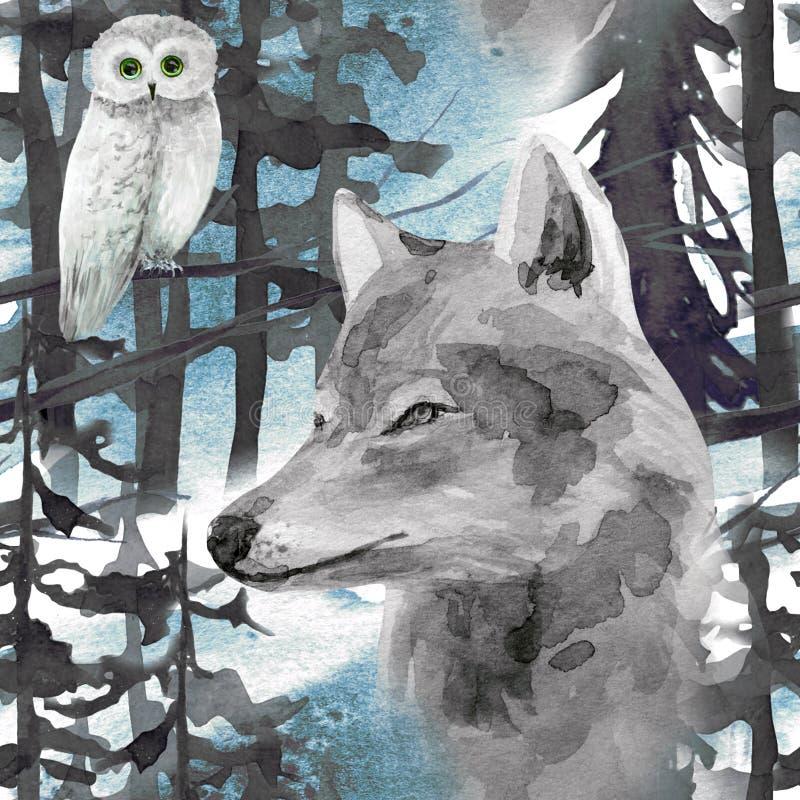 modelo inconsútil de la acuarela exhausta de la mano con el lobo y el búho en bosque ilustración del vector