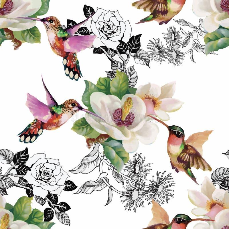 Modelo inconsútil de la acuarela floral tropical con colibris y flores Pintura de la acuarela stock de ilustración