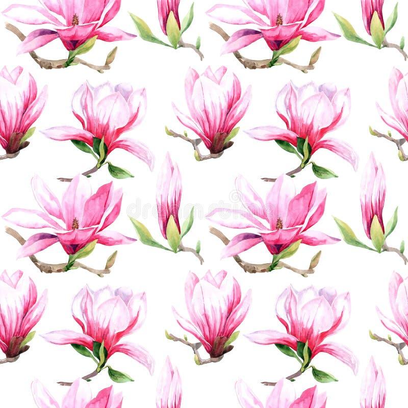 modelo inconsútil de la acuarela de las flores de la magnolia Floración de la primavera de la magnolia ilustración del vector