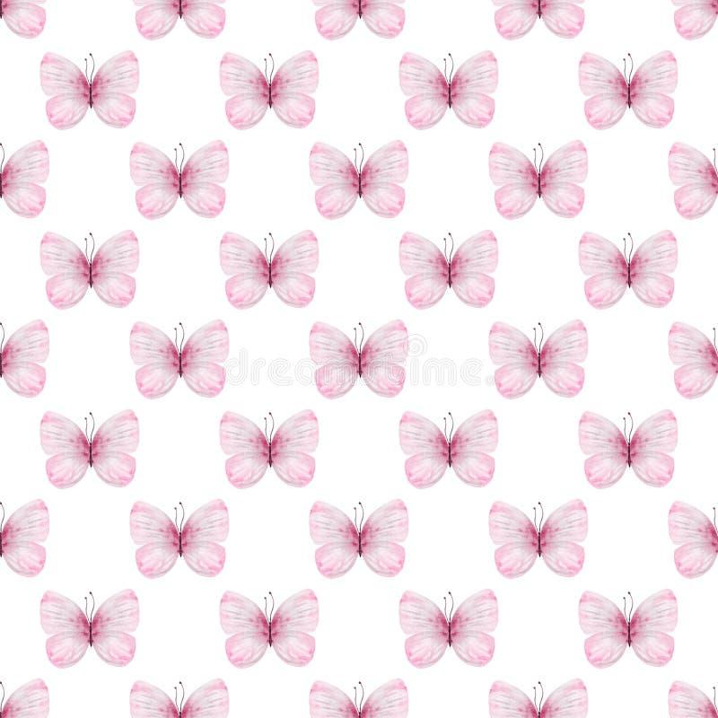 Modelo inconsútil de la acuarela de las mariposas lindas stock de ilustración