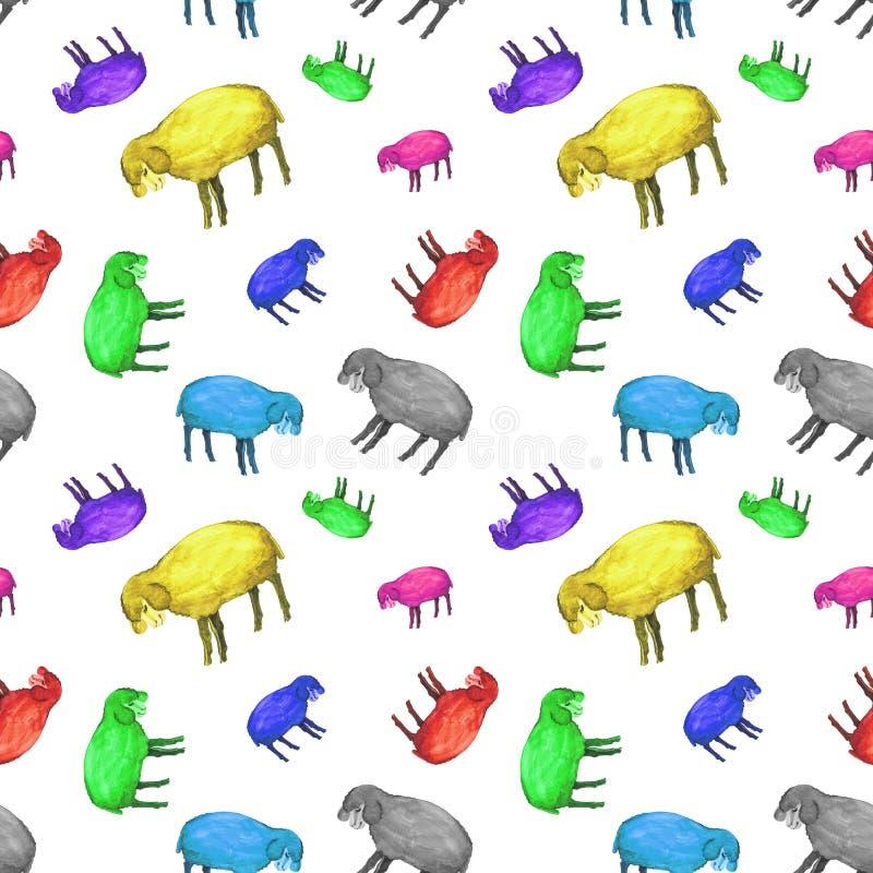 Modelo inconsútil de la acuarela de las ovejas de los multicolors con los ojos cerrados Rueda dentada stock de ilustración