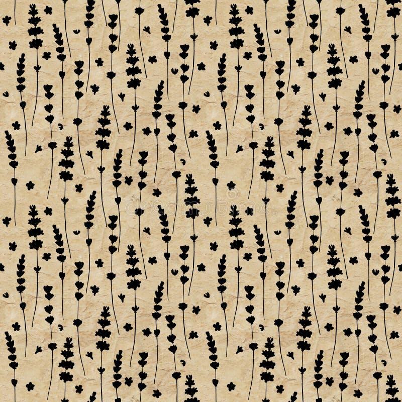 Modelo inconsútil de la acuarela de las siluetas del negro de la flor de la lavanda en viejo fondo de papel marrón amarillo del g stock de ilustración