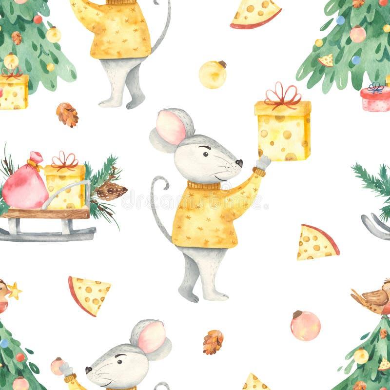 Modelo inconsútil de la acuarela de los regalos del queso de la rata de la picea de la feliz Navidad stock de ilustración