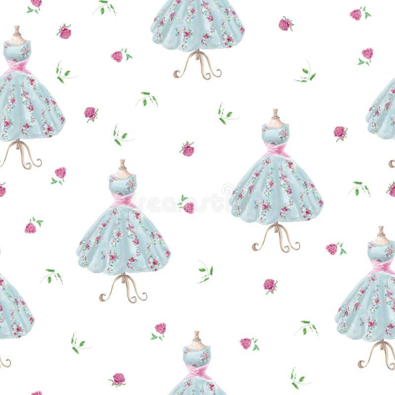 Modelo inconsútil de la acuarela de la mano del vintage del vestido exhausto de la flor ilustración del vector