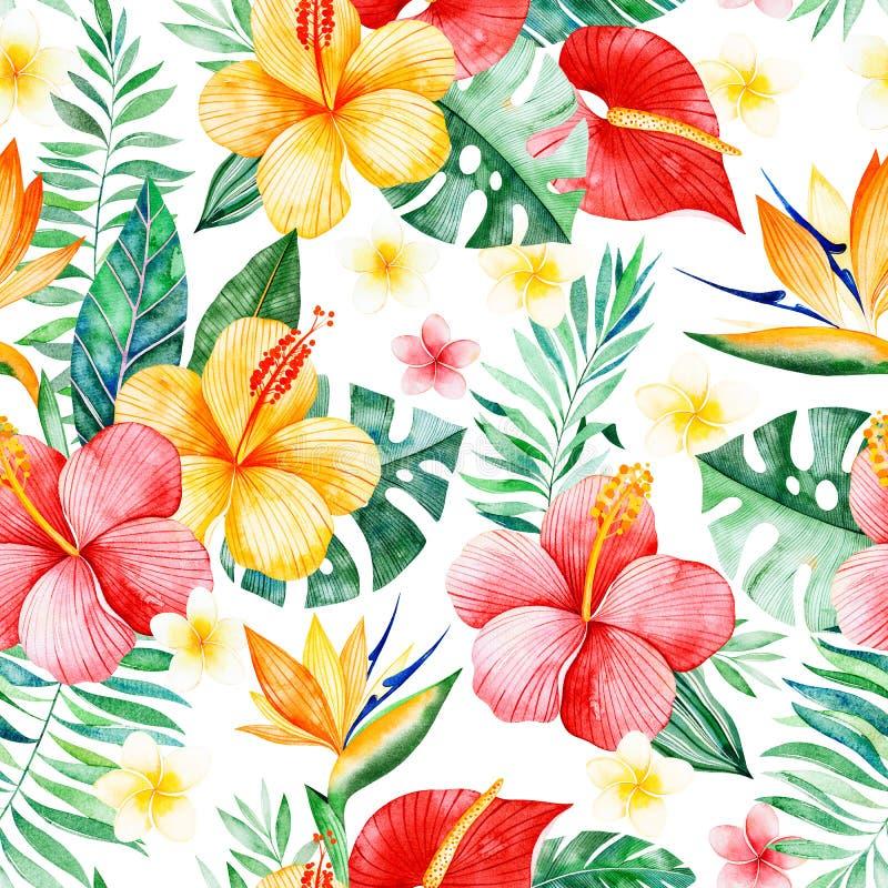 Modelo inconsútil de la acuarela pintada a mano con las flores multicoloras stock de ilustración
