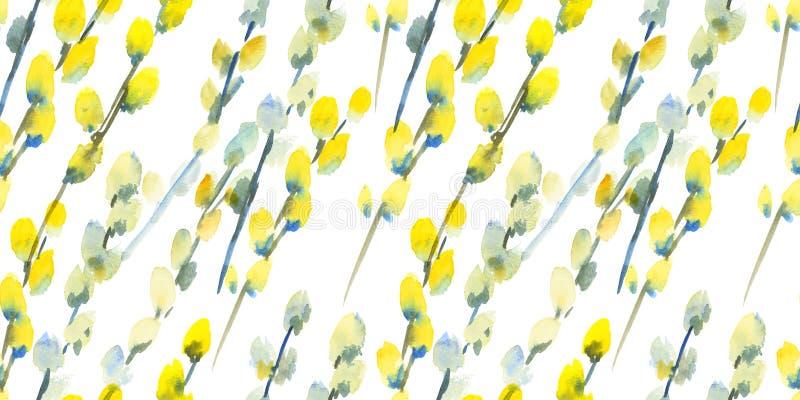 Modelo inconsútil de la acuarela de la trama del flor de la primavera ilustración del vector