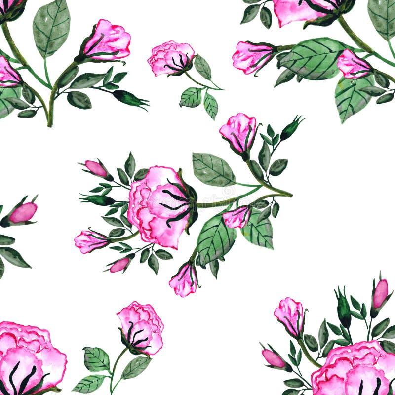 Modelo inconsútil de la acuarela un ramo de rosas y de brotes Una tarjeta de la invitaci?n para una boda, el cumplea?os y otros d ilustración del vector