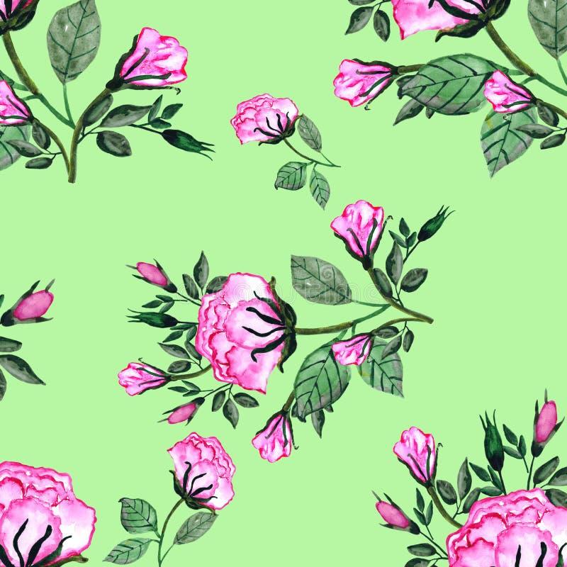 Modelo inconsútil de la acuarela un ramo de rosas y de buds-4 Una tarjeta de la invitación para una boda, el cumpleaños y otros d ilustración del vector