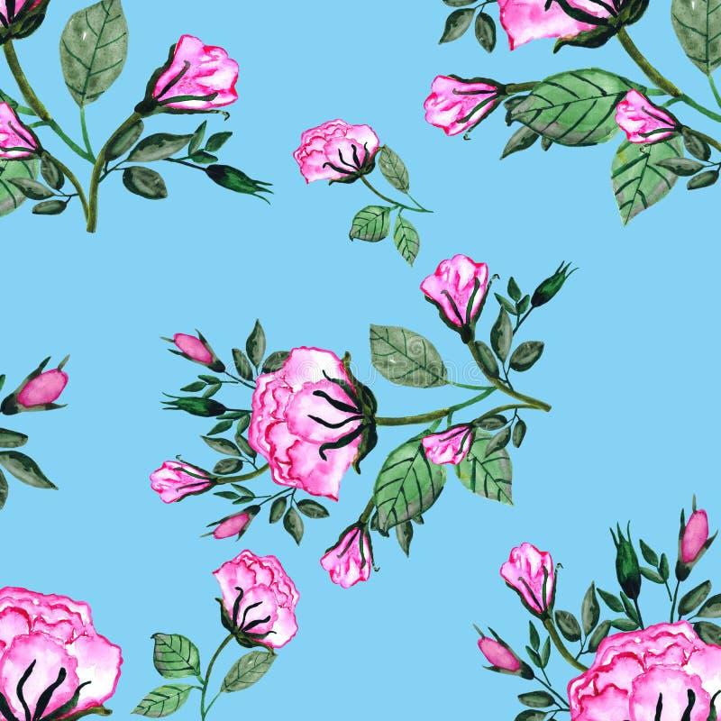 Modelo inconsútil de la acuarela un ramo de rosas y de buds-5 Una tarjeta de la invitaci?n para una boda, el cumplea?os y otros d stock de ilustración