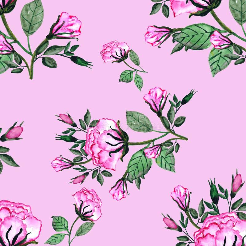 Modelo inconsútil de la acuarela un ramo de rosas y de buds-2 Una tarjeta de la invitaci?n para una boda, el cumplea?os y otros d ilustración del vector