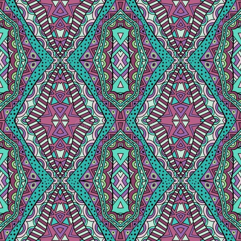 Modelo inconsútil de la alfombra étnica de moda de los colores ilustración del vector