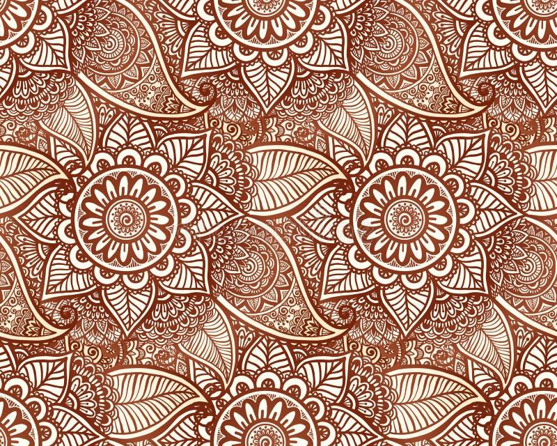 Modelo inconsútil de la alheña del tatuaje del vector indio del estilo stock de ilustración