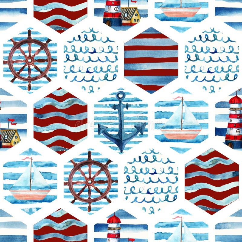 Modelo inconsútil de la aventura de la acuarela en estilo del infante de marina del remiendo stock de ilustración