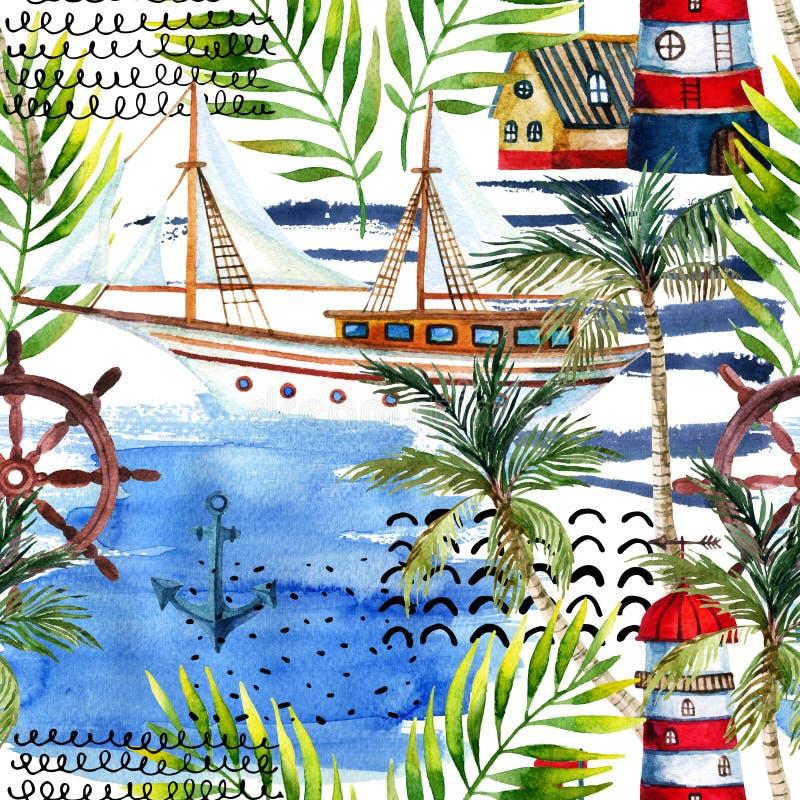 Modelo inconsútil de la aventura de la acuarela en estilo marino libre illustration