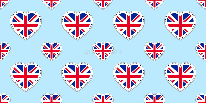 Modelo inconsútil de la bandera de Gran Bretaña Vector los stikers de las banderas de Reino Unido Símbolos de los corazones del a libre illustration
