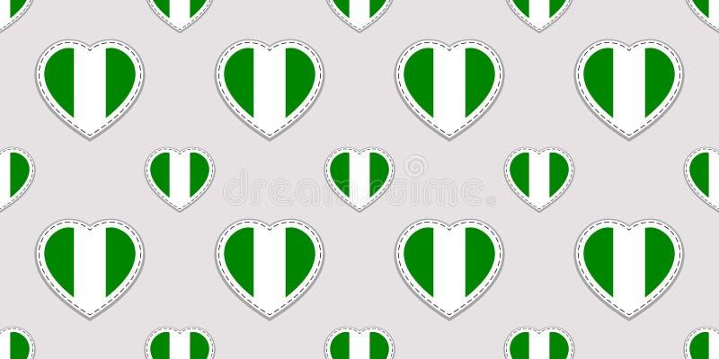 Modelo inconsútil de la bandera de Nigeria Stikers nigerianos de las banderas nacionales Símbolos de los corazones del amor del v stock de ilustración