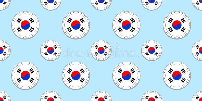 Modelo inconsútil de la bandera redonda de la Corea del Sur Fondo surcoreano Iconos del círculo del vector Símbolos geométricos t ilustración del vector