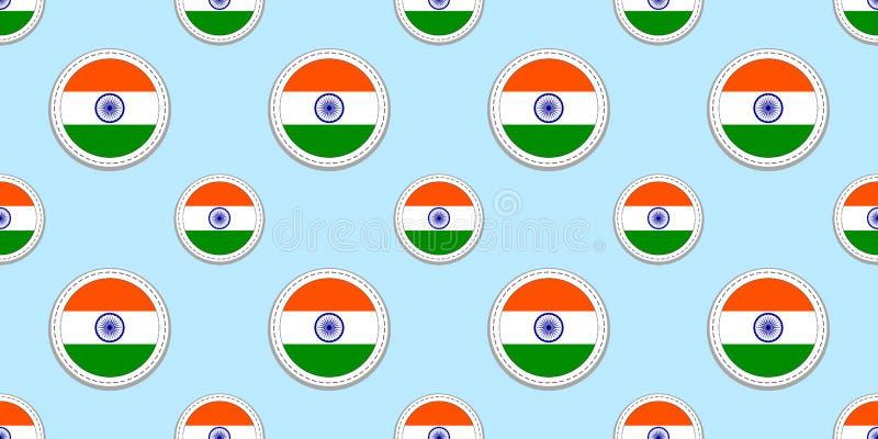 Modelo inconsútil de la bandera redonda de la India Fondo indio Iconos del círculo del vector Símbolos geométricos Texturice para libre illustration