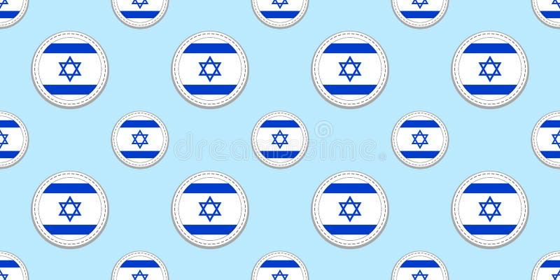 Modelo inconsútil de la bandera de la ronda de Israel Fondo israelí Iconos del círculo del vector Etiquetas engomadas geométricas ilustración del vector
