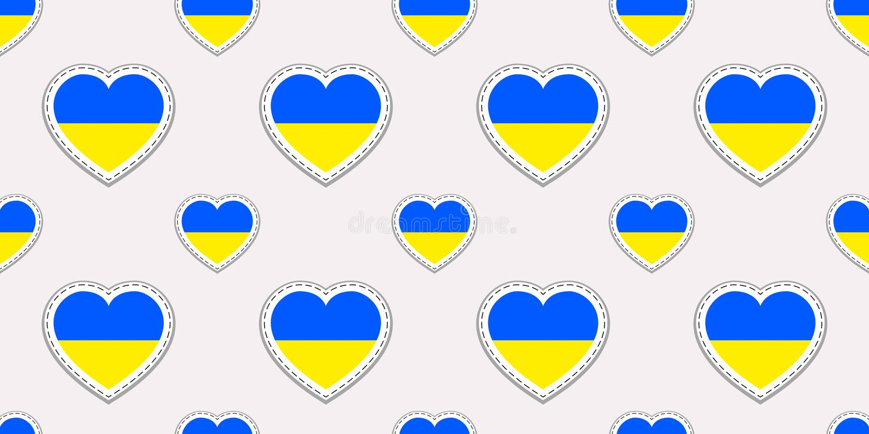 Modelo inconsútil de la bandera de Ucrania El ucraniano del vector señala stikers por medio de una bandera Símbolos de los corazo ilustración del vector