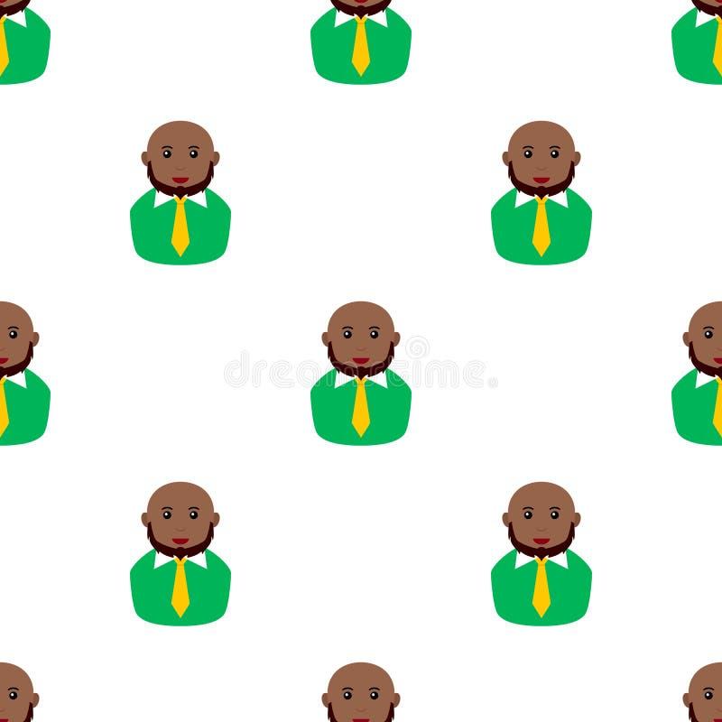 Modelo inconsútil de la barba calva del hombre del negro stock de ilustración
