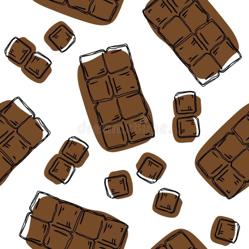 Modelo inconsútil de la barra de chocolate Fondo para el empaquetado del chocolate y del cacao - etiquetas y fondo en estilo line stock de ilustración