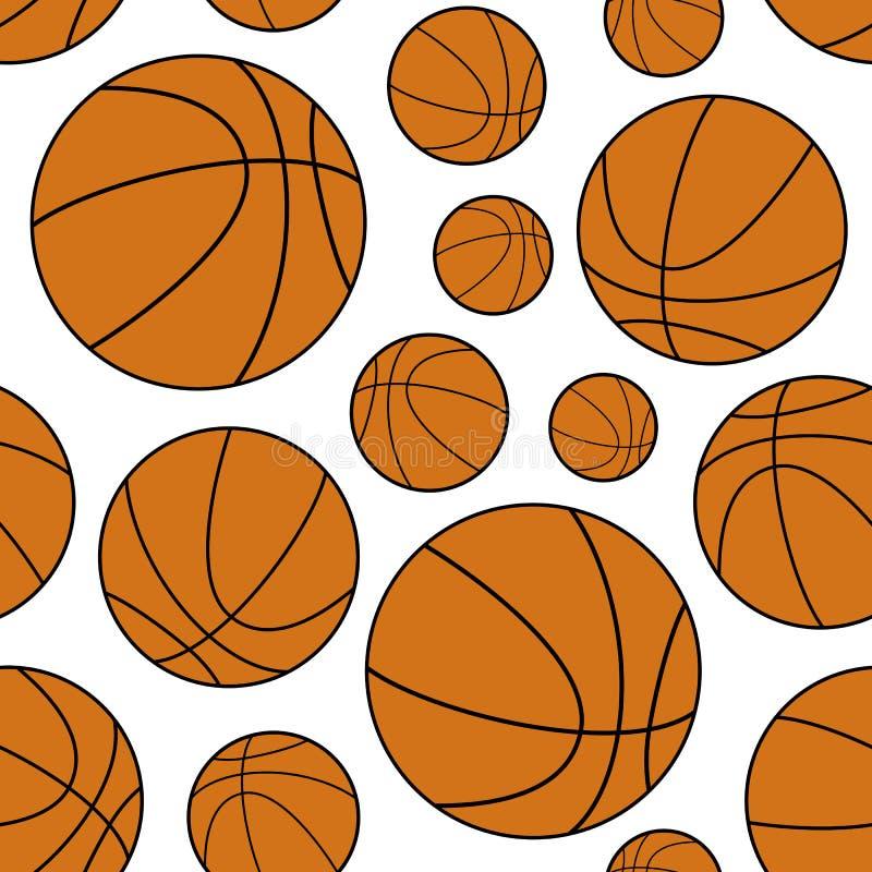 Modelo inconsútil de la bola anaranjada del baloncesto ilustración del vector