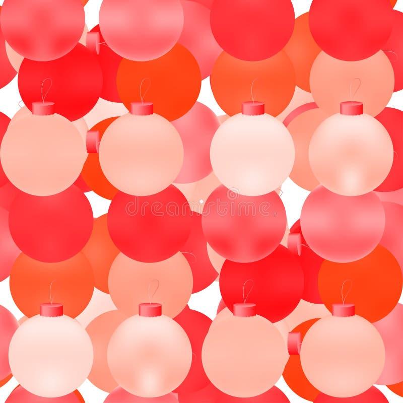 Modelo inconsútil de la bola de la Navidad Bolas brillantes coloridas Fondo festivo abstracto para las impresiones, papel de emba stock de ilustración