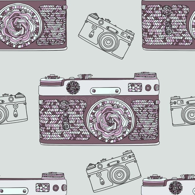 Modelo inconsútil de la cámara retra de la foto del vintage Diseño de la tela del estilo de la mandala Ejemplo del vector del est stock de ilustración