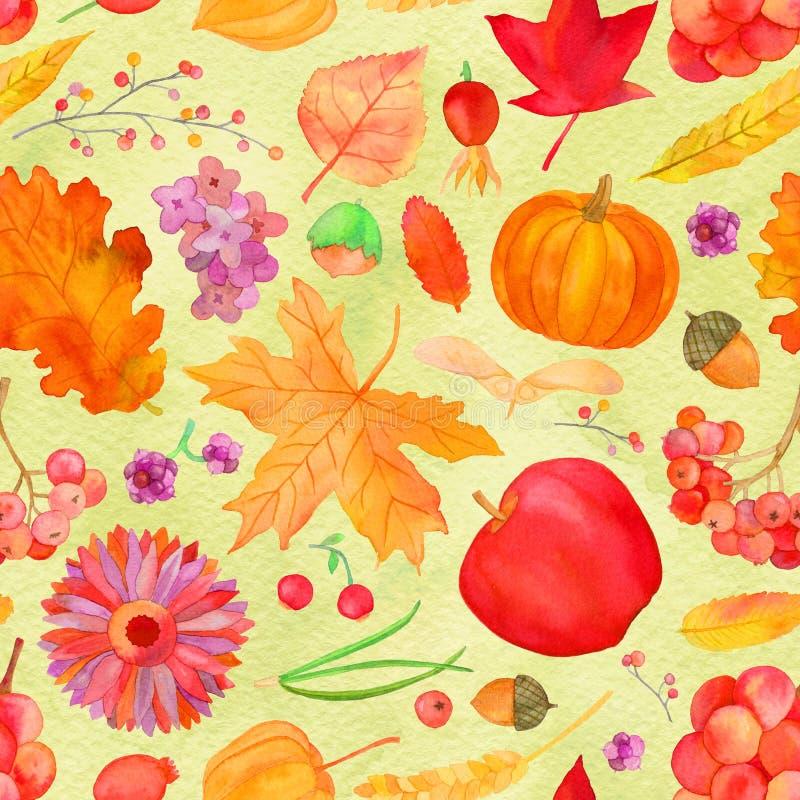 Modelo inconsútil de la caída rústica, fondo de la acuarela del otoño libre illustration