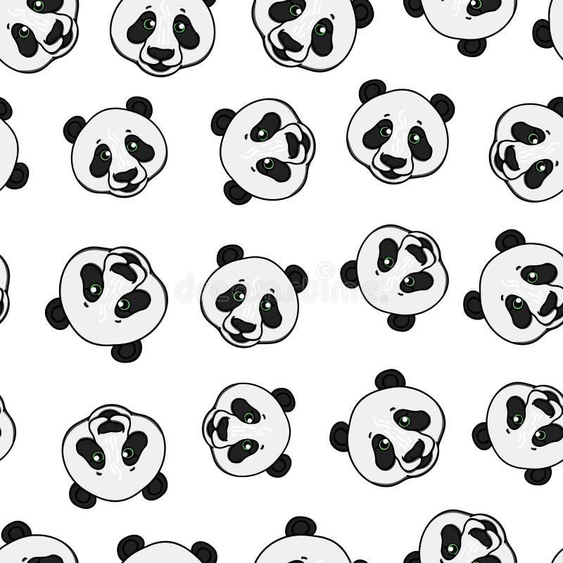 Modelo inconsútil de la cabeza de la panda Ejemplo dibujado mano del vector aislado en blanco ilustración del vector
