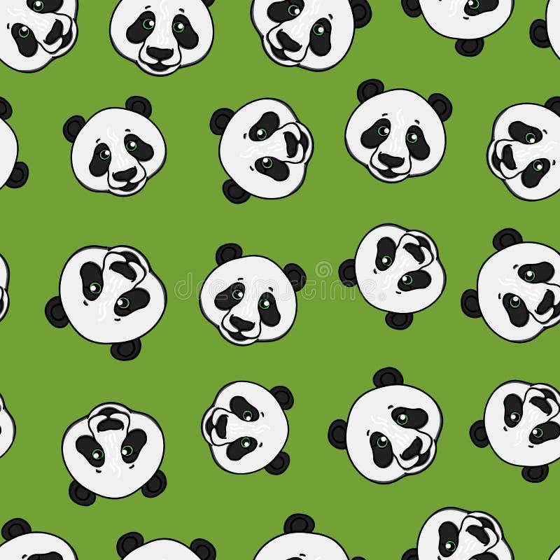 Modelo inconsútil de la cabeza de la panda Ejemplo exhausto de la mano del vector en verde Diseño superficial ilustración del vector