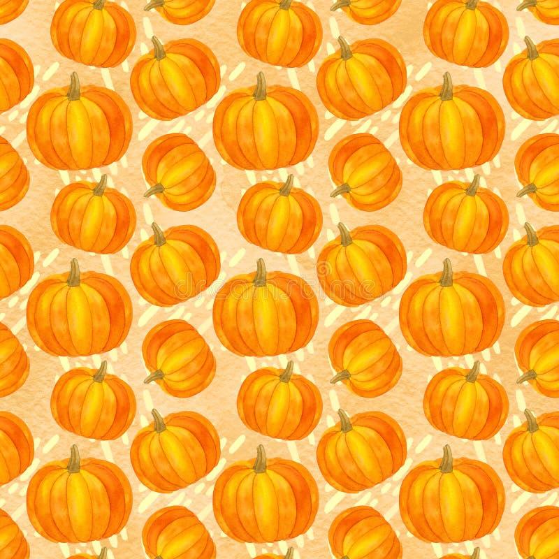 Modelo inconsútil de la calabaza, acción de gracias de la acuarela de la cosecha del otoño ilustración del vector