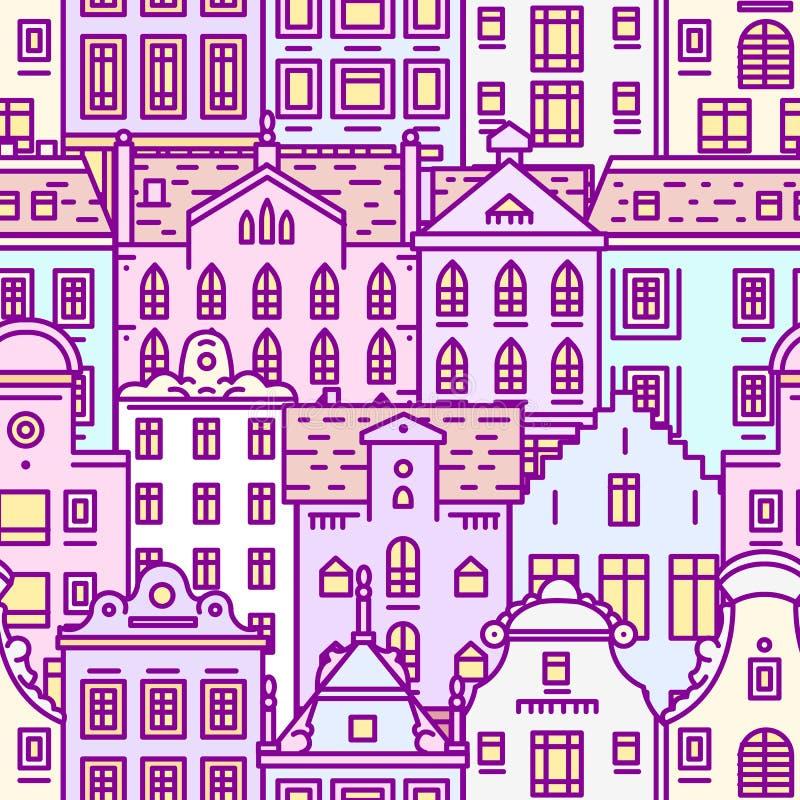 Modelo inconsútil de la casa de Europa Fondo lindo de la arquitectura Vecindad con los apartamentos clásicos y los hogares acoged stock de ilustración