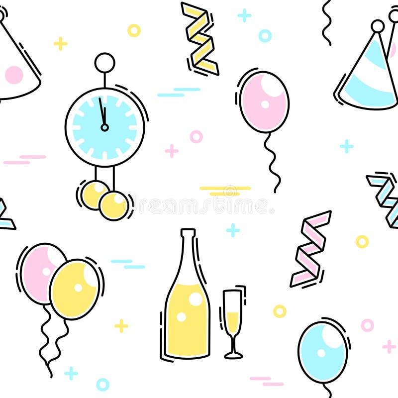 Modelo inconsútil de la celebración del ` s Eve del Año Nuevo stock de ilustración