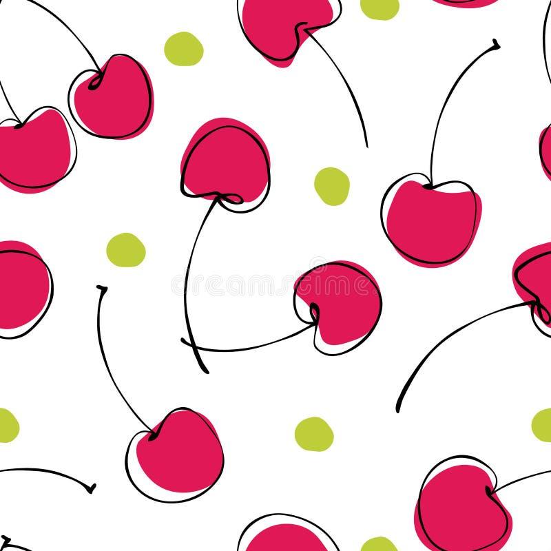 Modelo inconsútil de la cereza exhausta de las bayas de la mano abstracta en el fondo blanco libre illustration